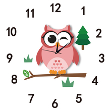 Funlife Arabic Numerals Cute Cartoon Owl Rustic Style Silent Quartz Clock Movement Wall Clock Decor for Kids Room SWC006(China)