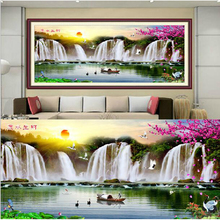 146*58 large picture Waterfall rising sun landscape 11CT DIY Printed Cross Stitch Kits Needlework Embroidery Painting Patterns