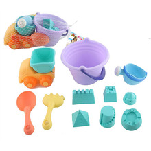 11 pcs Summer Sand Playing Tool Bath Toy Soft Plastic Beach Sand Bucket Shovel Spade Outdoor toys Hot for Children Free Shipping(China)