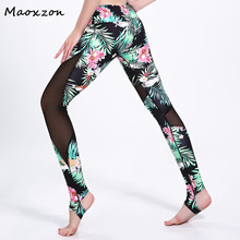 Buy Maoxzon Womens Floral Print Fitness Slim Leggings Pants Female Mesh Patchwork Casual Active Workout Ioga Skinny Trousers 3XL for $16.58 in AliExpress store
