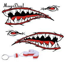 MagiDeal 2x Shark Teeth Mouth Decal Stickers Kayak Canoe Jet Ski Hobbie Ocean Boat + White Anchor Floating Key Ring Key Float(China)