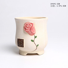 Mini Rose Ceramic Juicy Flowerpots Plants Flowers Vase Container Micro Garden Decoration Small Bonsai Pots for DIY Free Shipping
