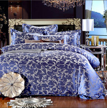 Luxury Bedding Set New Design Satin and Cotton Bedding Sets Bed Sheet Jacquard Bedding Sets Duvet Cover Red Blue Gold(China)