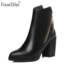 Women Real Leather Boots Winter Plush Ankle Boots Ladies Sexy High Heel Fashion Pointed Toe Zipper Boots Women Shoes Size 34-39