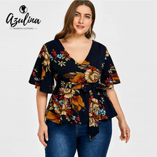 Buy AZULINA Plus Size V-Neck Print Blouse 2018 Women Boho Blouses Shirts Casual Loose High Waist Tops Blouse Big Size Ladies Clothes for $13.99 in AliExpress store
