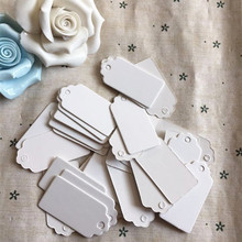 100pcs Paper Gift Tags Card White Scallop Festival Wedding Decoration Blank Mini Luggage Label 2*4cm(China)