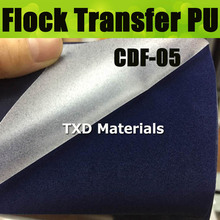 CDF-05 Dark Blue Premium quality heat transfer flocking PU vinyl, flock pu transfer film for shirts with size 50X100CM