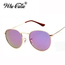 Who Cutie Brand 3447 Sunglasses Men Women Classic Retro Vintage Round Lens Metal Frame Circle Hot Rays Sun Glasses Eyewear OM238(China)