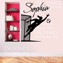 Soccer Player Goalkeeper Vinyl Wall Decal Personalized Custom Girl Name Football Sport Art Wall Sticker Bedroom Home Decoration