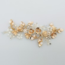 Jonnafe Boho Gold Leaf Hair Vine Bridal Headband Pearls Wedding Hair Jewelry Wreath Women Headwear Handmade