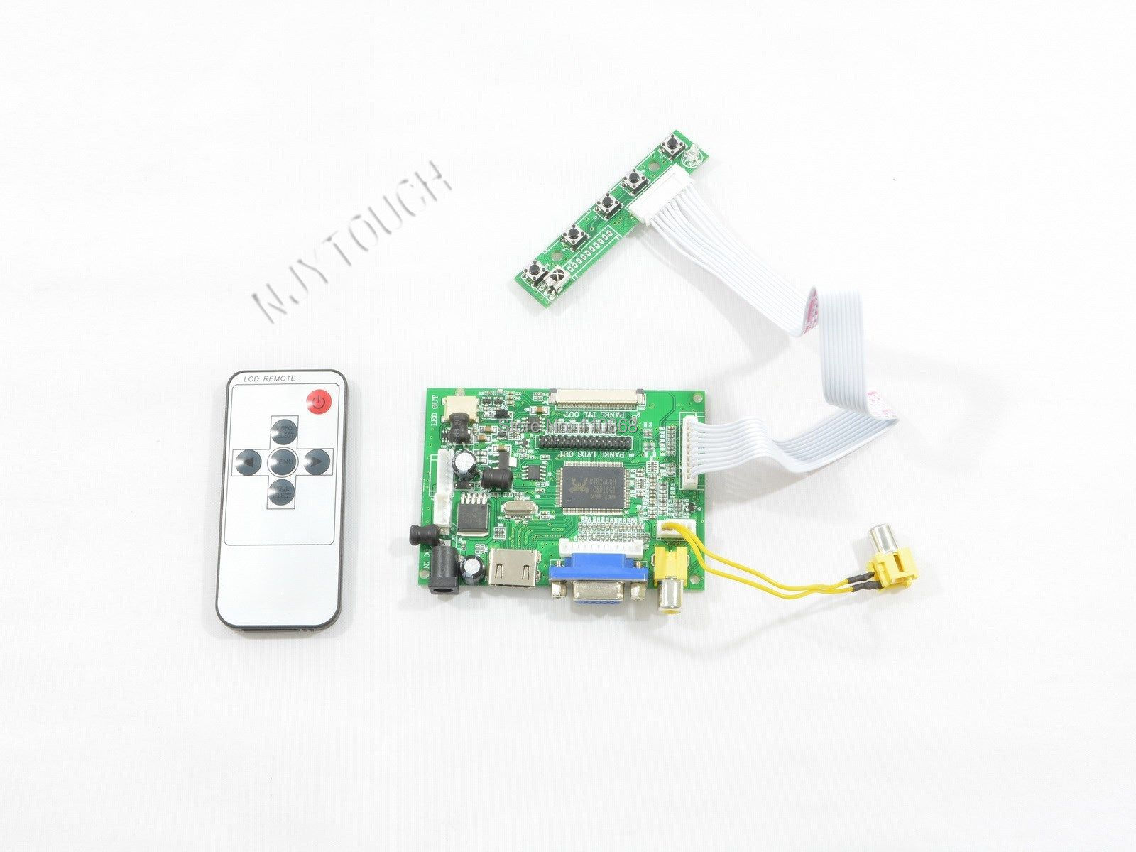 LCD Controller Board HDMI VGA AV Remote DIY Kit for 800x480 7 inch LED TFT LCD AT070TN92 AT070TN90 AT070TN94 TTL 50 pins<br>
