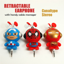 New Cartoon superhero Headphone 3.5mm in-ear retractable earphone canaltype stereo with handy cable manager for Samsung HTC