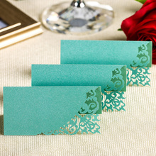 12PCS/lot  Wholesale Tiffany Blue Laser Cut Place Name Card Wedding Decorative Table Paper Vine Seat Cards for Party Favor