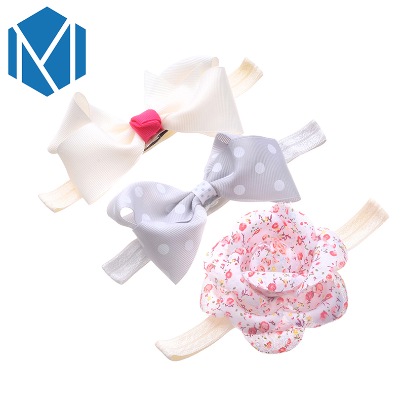 M MISM 3PCS Cute Newborn Baby Elastic Headband Ribbon Bow Girls Lovely Headwear Hair Bands Children Lace Flower Kids Turban Set(China (Mainland))