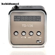 kebidumei TD-V26 Mini Speaker Portable Digital LCD Sound Micro SD/TF FM Radio Speaker Music Stereo Loudspeaker for Laptop Phone(China)