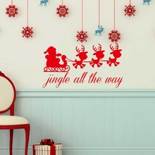 Jingle all the way Christmas removable vinyl wall decal Santa Reindeer wall decor Christmas decoration Door Stickers 679MX