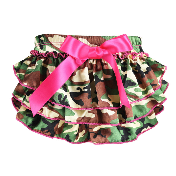 2017 Limited Wennikids Baby Girl Underwear Camouflage Bow Printing Ruffle Bloomer Pants Infant Dress Shorts 0-24m Diaper Covers