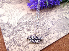 fashion   20*10MM Antique silver MARINE MOM  charm pendant necklace