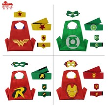 SPECIAL 70*70 cm Superhero capes with masks cuff waistband for kids birthday party supplies favor wonder women costume masque
