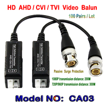 100Pairs HD CVI/TVI/AHD Passive Single Channel Video Balun HD CCTV Via Twisted Pairs Transmitter & Receiver BNC to UTP Cat5/5e/6