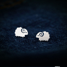 Korean Style Animal Earrings Trendy Lovely Wire Drawing Silver Plated Stud Earrings Fashion Design Simple Ear Jewelry for Women(China)