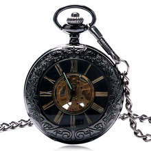 Vintage Black Pocket Watch Half Hunter Automatic Mechanical Watches Men Women Gift Fob Watches with Pocket Chain