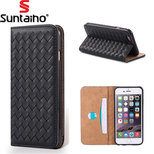 Braid Leather Flip Cover Wallet Case Phone Case For iPhone 7 Case Suntaiho Luxury Phone Back Cover Coque For iPhone 6 Plus Cover(China)