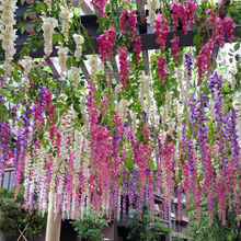 1pcs 110cm  Artificial Wisteria Flowers Vine Silk Flower for wedding and party  Decoration
