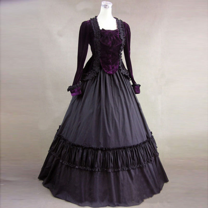 purple-velvet-long-sleeves-gothic-victorian-ball-gowns