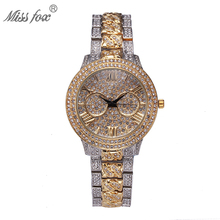 MISSFOX Luxury Watch Women Rhinestone Xfcs Ladies Retro Gold Watches Top Brand Luxury Quartz Movt Bu Shockproof Waterproof Watch(China)