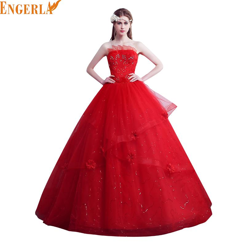 Vestidos De Novias New Elegant New Stock Us Size 2-28 White And Red Strapless Wedding Dress Bridal Gowns(China (Mainland))