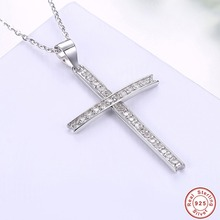 100% 925 Sterling Silver Cross Jesus Christ Necklaces for women. s925 silver Pendant Jewelry Cubic Zirconia Crystal Wholesale(China)