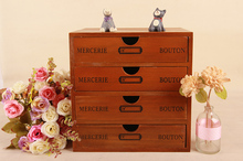 Wood multilayer drawer type desk top litter small article storage box storage cabinet wooden solid wood box(China)