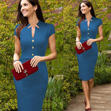 Summer Elegant Women Business Dress Pinup Celebrity Wear To Work Shift Tunic Bodycon Sheath Pencil Party Casual Dresses