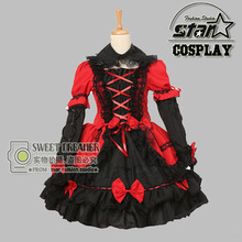 Children Girls Luxury Medieval Dress Cute Baby Red Heart Queen Cosplay Beautiful Lace Lolita Dress Halloween Princess Costume