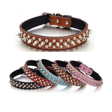 Spiked Studded PU Leather Dog Collars Cool Fahsion Dog Necklace for Small Medium Breeds Chihuahua Accessories