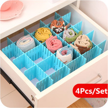 DIY 4Pcs Free Combination Drawer Divider Household Storage Organizer Partition Board Grid Socks Underwear Partition Lattice 66
