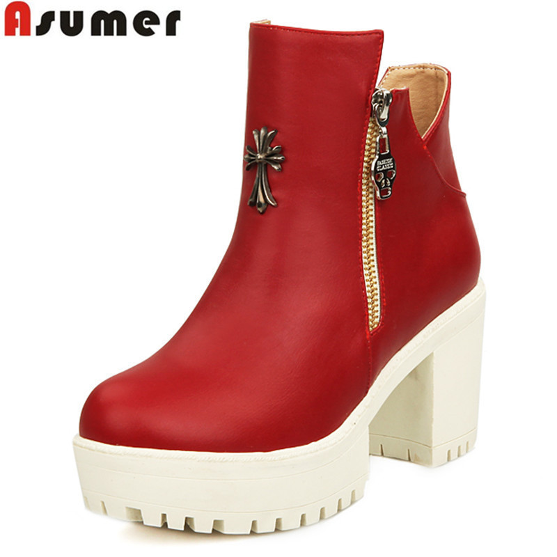 ASUMER drop ship New Fashion sexy ankle boots high heels Punk Rock platform Women winter autumn boots red wedding shoes woman<br><br>Aliexpress