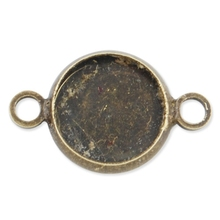 Antique Bronze Round Pendant Tray, Necklace Pendant Connector Settings, 10mm Bezel Pendant Blanks for Glass Cabochon-C1679(China)