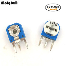 50PCS RM063 (blue white) blue and white can be adjusted resistance potentiometer 100 1K 2K 5K 10K 20K 50K 100K 200K 500K 1M ohm(China)