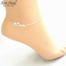 DIANSHANGKAITUOZHE 2017 Snowy Mountain Anklets Women Men Jewelry Stainless Steel Fashion Peak Charm Gold Leg Chain Tobilleras