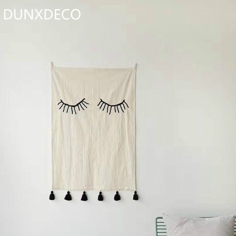 DUNXDECO 50x70CM Nordic Chic Eyes Modern White Print Tassel Hanging Fabric Table Cloth Picnic Cloth Home Decor Photo Prop(China (Mainland))