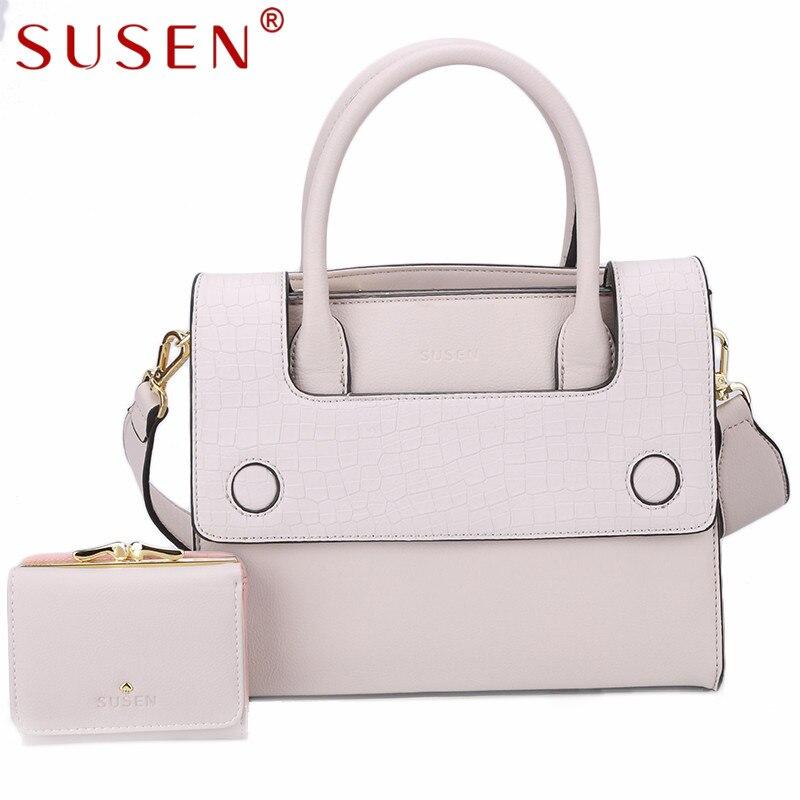 SUSEN Women composite tote bags ladies crocodile shoulder crossbody bag with clutch purses 2 pcs set quilted messenger handbag<br>