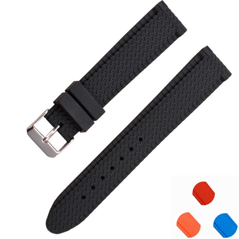 22mm Rubber Watchbands Strap Stainless Steel Pin Buckle Black Waterproof Diving Silicone Watch Band Straps 18/20/22/24mm<br><br>Aliexpress
