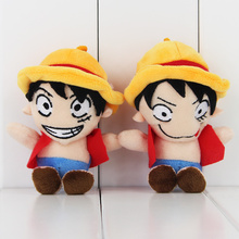 2Pcs/Lot Hot Selling Anime One Piece Monkey D Luffy Plush Keychain Pendant Stuffed Plush Toys Soft Dolls Gifts For Kids 12cm(China)