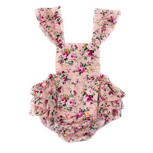 Cute Baby Pink Flower Print Ruffles Rompers Girls Cotton Straps Apron Jumpsuit with Straps Shoulder Overalls One-piece 12pcs/lot