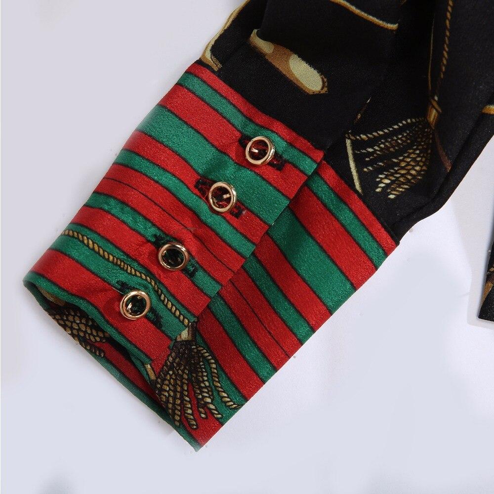 2018 Spring Women Fashion Blouse Bow Ribbon Striped Shirt Black Beige Casual Office Shirts Print Female Big Size Tops Zevrez 23