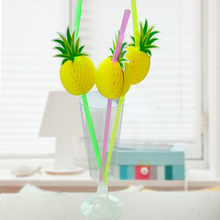 30pcs/pack 3D Pineapple Cocktail Drinking Straw Umbrella Drinking Straw Party Table Decoration