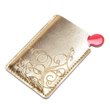 1piece Makeup Mirrors Shatter-Proof Pockets Cat Stainless Steel Face Mirror Compact Maquillaje Portable PU Card Sleeve 2017