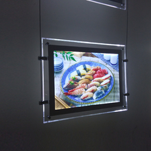 Restaurant Shop Acrylic Frame Cable Wires Hanging LED Window Display Panels Singl Sided A3 Display Light Boxes Signs(China)